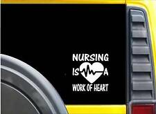 "Nursing Work of Heart Sticker K616 6"" vinyl sticker nurse decal"