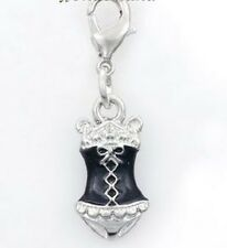 SILVER FINISH DOUBLE SIDED BLACK ENAMEL CORSET BODICE DRESS CLIP ON CHARM