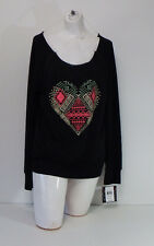 Womens Tops & Blouses Miss Chievous Black Colorful Heart Long Sleeve Size Medium