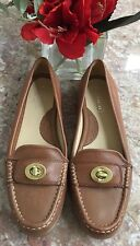 Coach Darcie Turn-Lock Brown Leather Flat Loafers Shoes Size 6M (A 2391) EUC