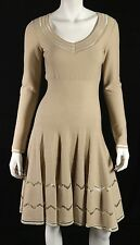 ALAIA Beige Cotton Blend Open Seam Zig-Zag Fit & Flare Dress 40