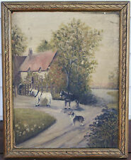 Antique Oil Painting On Board- Horses and Dog Scene