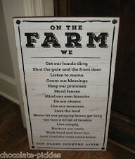 BiG FARM Rules Wood Wall SIGN*Primitive/French Country Farmhouse Kitchen Decor