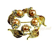 18K Yellow gold plated Simulated-Pearl Flower Brooch Pin Russian CZ wedding gift