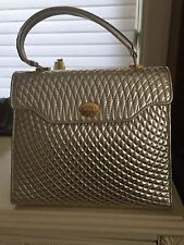 Bally handbag NWT  Gold lamb skin Clutch. Or shoulder Strap Handbag