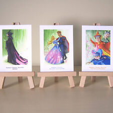 3 Sleeping Beauty ACEOs WDCC Maleficent Aurora Flora Fauna Merryweather drawings