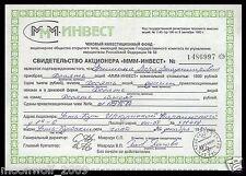 LOCAL RUSSIA CERTIFICATE OF SHAREHOLDER MMM Date 8 September 1993