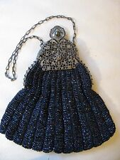 Antique Silver T Filigree Frame Knit Iridescent Peacock Blue Bead Puffy Purse
