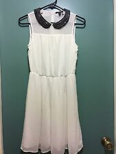 ZARA Cute Pleated White Sheer Muti Color Beaded Collar Sash Dress Size XS