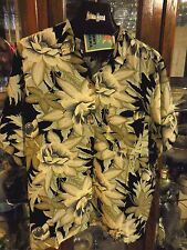 Tommy Bahama FAB New NWT women top camp shirt Hawaiian Savannah black green S