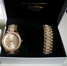 Gold Finish Iced Out Bling Techno Pave Watch/Bracelet Combo Rapper Style Set