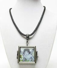 Antique Silver Plating Square Glass Photo Locket Pendant Necklace