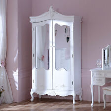 Antique Off White Wardrobe Wooden Painted Mirrored Doors Bedroom Furniture Large