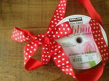 """Wire Edged Red Ribbon Hearts x 2 Metre Luxury Christmas Bows Width 1.5"""" 3.8cm"""