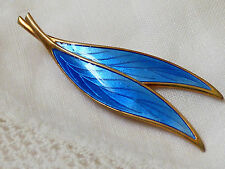 Sterling Silver 925 Gold Plate David Andersen Norway Blue Enamel Leaf Pin Brooch