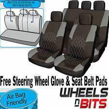 VW Caddy Amarok Passat CC GREY & BLACK Cloth Car Seat Cover Set Split Rear Seat