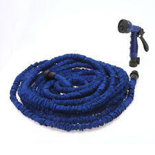 Blue 100FT Expandable Flexible Garden Water Hose With Spray Nozzle Head New