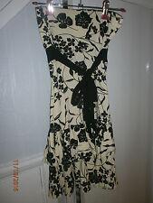 jane norman dress black/cream flower  stretch jersey size 8 tiered hem strapless