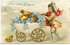 JOYEUSES PâQUES. HAPPY EASTER. POUSSINS. CHICKS. ENFANT. CHILD. OEUF. EGG.