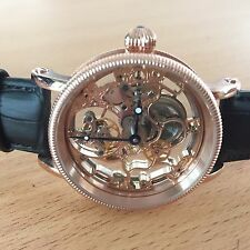 New coated rose gold clear Skeleton 1-Min.Real Flying Tourbillon