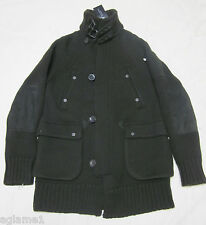 $1295 Ralph Lauren Black Label Military Green Leather Trim Sweater Jacket coat M