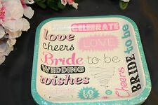 15ct 6in Square BRIDE TO BE Bachlorette Cake Plates Party Wedding Reception 815