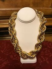 """Very Chunky Golden Rope Choker Necklace  16"""""""