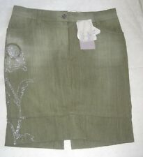 ROCCOBAROCCO Jeans Gonna tubino verde strass Fashion Skirt Jupe Rock Tg42 New