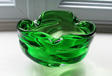 "Green Bowl Round Indents 5 1/2"" Murano Chalet Art Glass Style Not Signed"