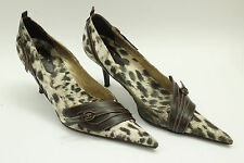 ROBERTO CAVALLI  shoes sz. 7.5 (38) beige brown canvas S5902