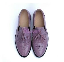 Ladies vintage Retro Brogue Flat Oxford Wing Tip Leather SHoes Tassel Loafer HOT