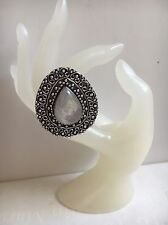 Rainbow Moonstone & Silver Vintage Ring UK Size P US Size 8 Gemstone Jewellery