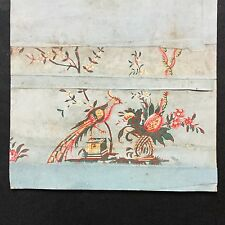 Papier Peint Ancien XVIIIè Baroque Oiseau Georgian Wallpaper Bird 18thC