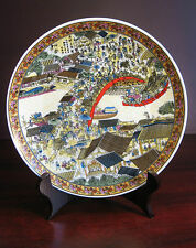 handmade Chinese Riverside Scene at Qingming Festival plates (with stand)