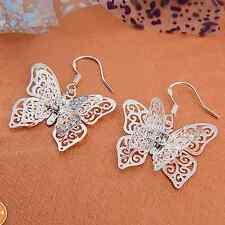 Hot Fashion Lady's Pretty Butterfly Shape  silver CZ Dangle earrings