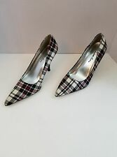 Womens Shoes Charlotte Russe Plaid Red White Black Pointed Toe Pumps 7 Narrow