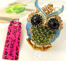 Betsey Johnson Blue Enamel, Peridot Green & Amber Crystal Owl Pendant Necklace