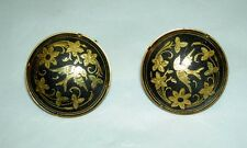 Vintage Toledo Spain Damascene 24K Plated Inlaid Flower Bird Cufflinks 3 cm Wide