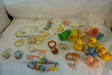 VINTAGE CRIB MOBILE TOY LOT BAKELITE CELLULOID PLASTIC RATTLES TEETHERS DUCKS