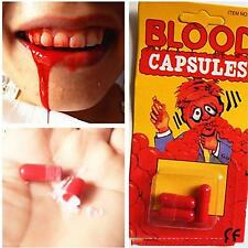 Corn Starch 3 Fake Blood Pill Capsules Horror Funny Halloween Joke Prank Trick