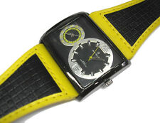 Hip Hop Big Case Leather Band 2 Time Zone Men's Watch Yellow Item 6090