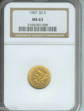 1907 (1907-P) $2.5 Liberty Eagle Ngc Ms63 Gold Coin Last Year of Issue Beautiful