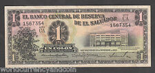 EL SALVADOR 1 COLON P90 1959 CA Prefix LATINO WORLD CURRENCY MONEY BILL BANKNOTE