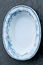"Furnivals Blue & White Ironstone Transferware 6"" Oval Sauce Side Bowl 1895-1920s"