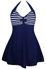 BLUE WHITE Striped One-piece Swimdress swimsuit swimwear 8-10-12-14-16