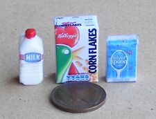 1:12 Scale Breakfast Set Doll House Miniature Food Corn Flakes, Milk & Sugar
