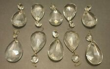 10 Teardrop Crystals for lamp  parts or repairs  Large