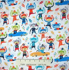 Nursery Baby Fabric - Monkey Moves Cars White - Michael Miller Cotton YARD