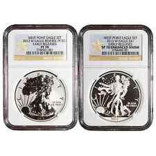 2013-W West Point Silver Eagle 2pc Set NGC PF70 & SP70 ER (WPS ER Label)