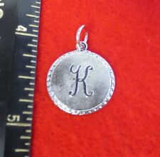 14KT WHITE GOLD EP LETTER K ROUND INITIAL DISC CHARM